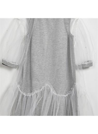 Panço Kız Çocuk Örme Elbise 2111GK26038 Gri